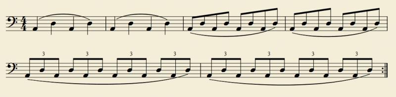 2つの弦の移弦練習