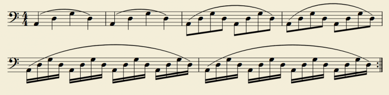 3つの弦の移弦練習