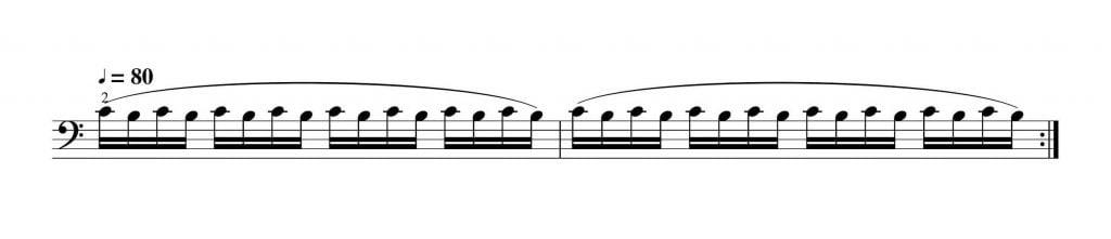 2拍子系の弓の返しがあるビブラート練習