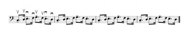 奇数番目の音を付点のリズムにする(逆弓)