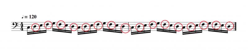 奇数番目の音を付点のリズムにすると弾けるようになる部分