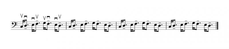 偶数番目の音を付点のリズムにする(逆弓)