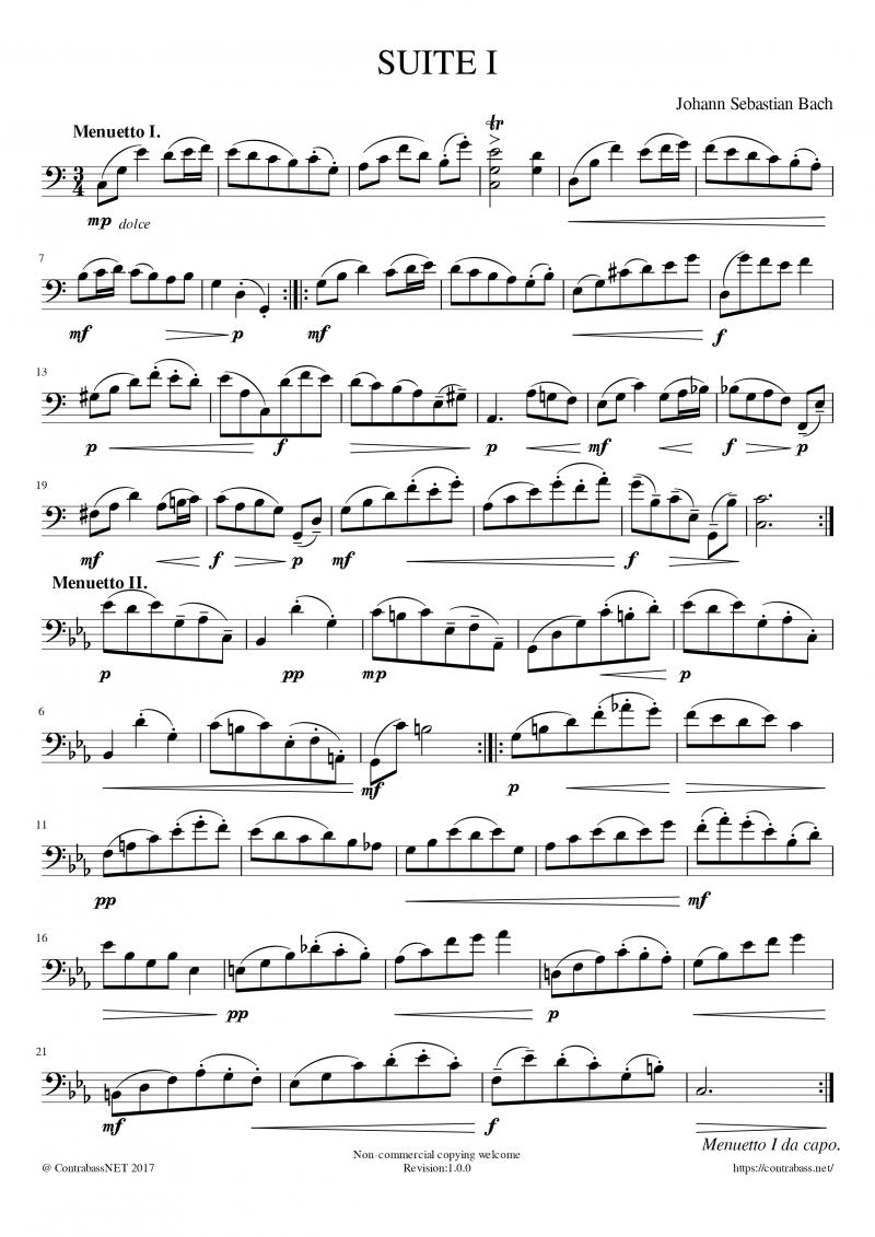 J.S.Bach: SUITE I Menuetto