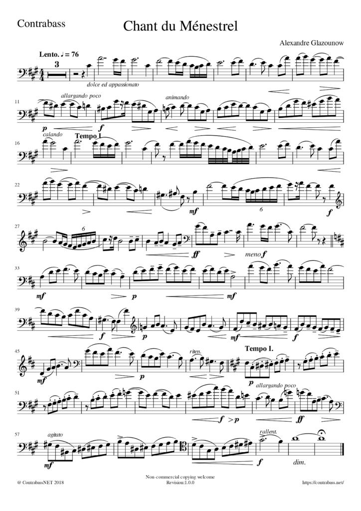 A.Glazunov: Chant du ménestrel Contrabass