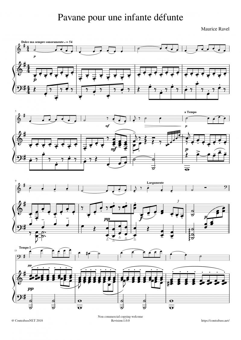 M.Ravel: Pavane pour une infante défunte Piano
