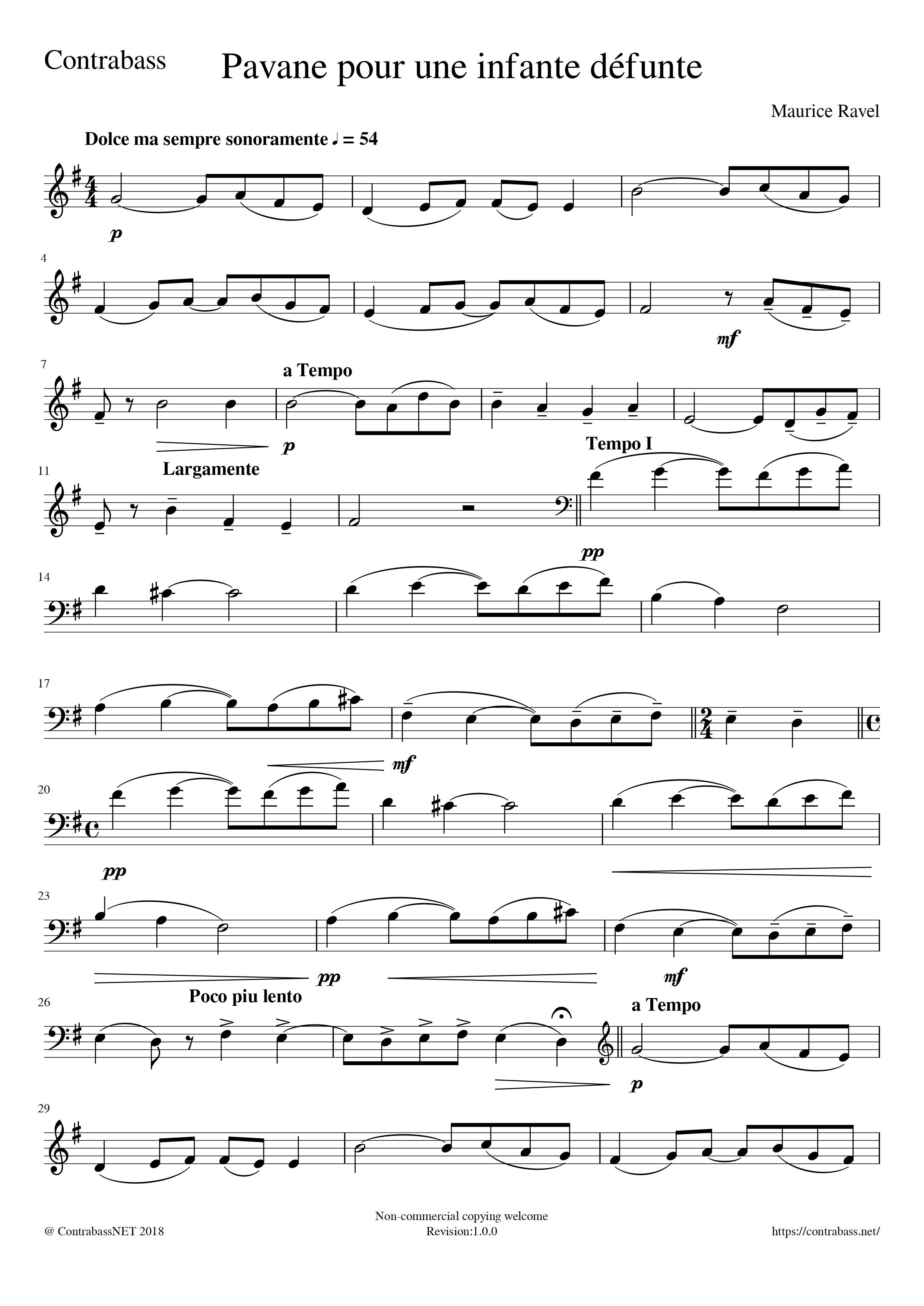 M.Ravel: Pavane pour une infante défunte Contrabass